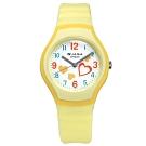 JAGA 捷卡 運動休閒 愛心指針 防水50米 橡膠手錶-白x橙黃/32mm