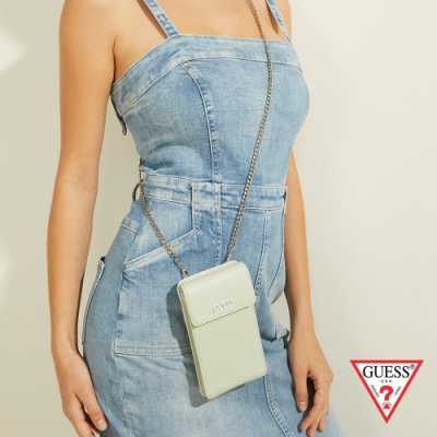 GUESS-女包-時尚鏈條純色手機包-綠 原價2090