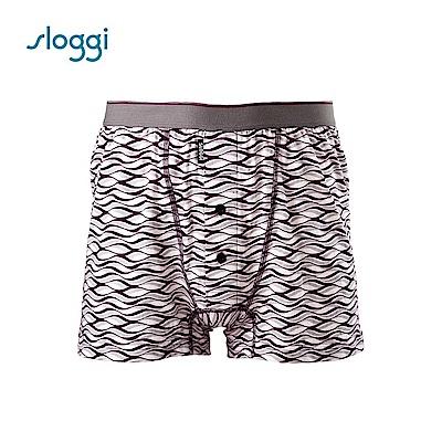 sloggi men 寬鬆系列Surf 針織平口褲 深紫褐