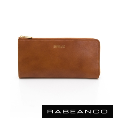 RABEANCO 迷時尚系列L型拉鍊長夾 駝