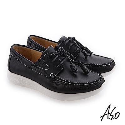A.S.O 3D超動能 舒適耐穿圓楦休閒鞋 黑
