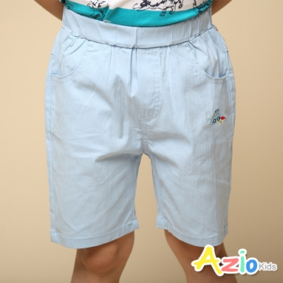 Azio Kids 男童 短褲 小汽車刺繡純色彈性休閒短褲(淺藍)