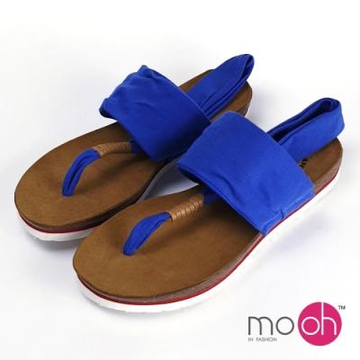mo.oh-舒適棉布瑜珈夾腳軟木涼鞋-寶藍色