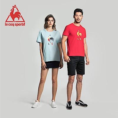 le coq sportif 法國公雞牌印花透氣短袖T恤 男-灰藍