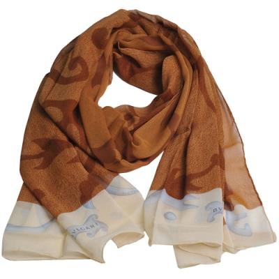 BVLGARI 義大利製繽紛花藤圖騰字母LOGO100%絲質長絲巾(卡其色系)