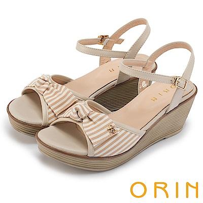 ORIN 愜意渡假風情 嚴選條紋布面拼接牛皮楔型涼鞋-米色
