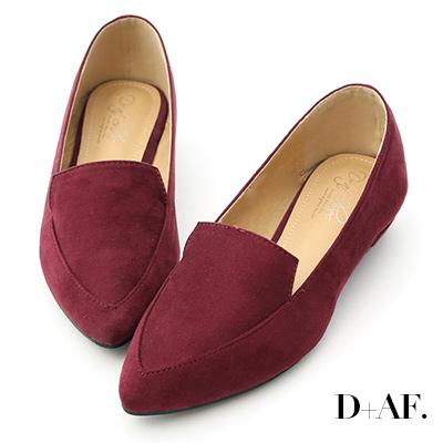 D+AF 都會俐落.絨料尖頭金屬低跟鞋*酒紅