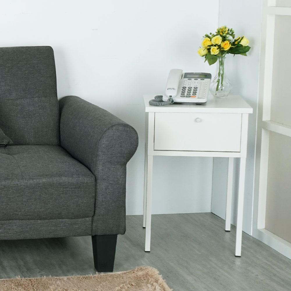 Homelike 鋼製邊桌/床邊桌/小茶几(象牙白)-DIY