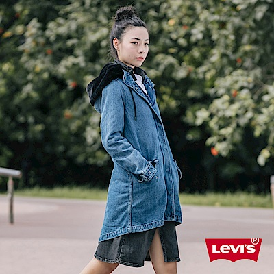 Levis 女款 牛仔長版大衣 後擺魚尾設計 黑色天鵝絨連帽 內刷毛