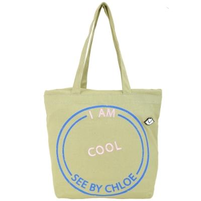 SEE BY CHLOE Live 刺繡字母棉質帆布束口購物包(褐綠色)