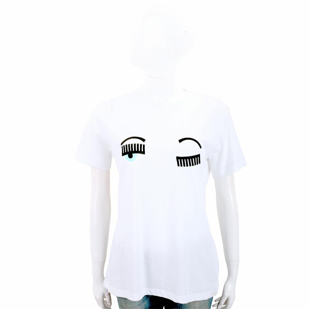 Chiara Ferragni Flirting 刺繡眨眼米白色棉質短T恤