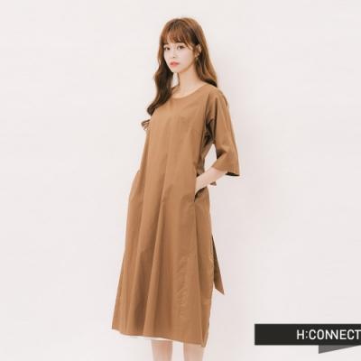 H:CONNECT 韓國品牌 女裝 - 甜美綁結兩件式洋裝 -卡其