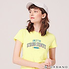 GIORDANO 女裝棉質圓領標語印花T恤-   11 極光黃