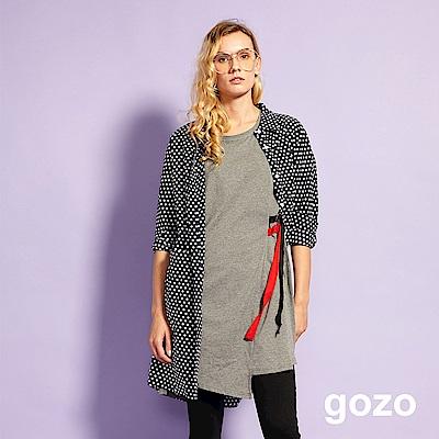gozo 拼接片領配色抽繩不對襯擺洋裝(二色)