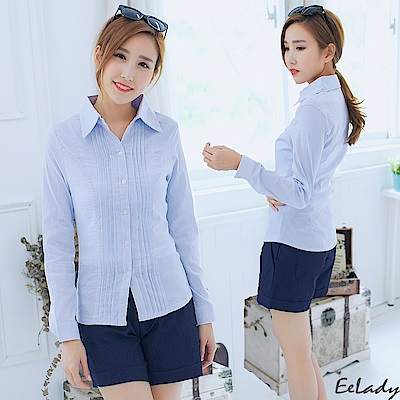 EELADY-雙排壓摺長袖襯衫(藍色)