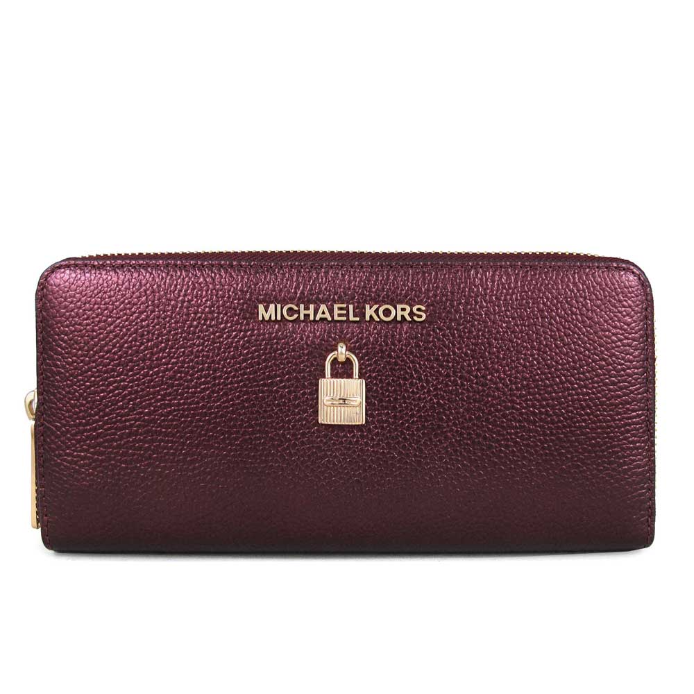 MICHAEL KORS Adele金字Logo鎖頭配飾全皮革ㄇ型拉鏈長夾(香檳紅)