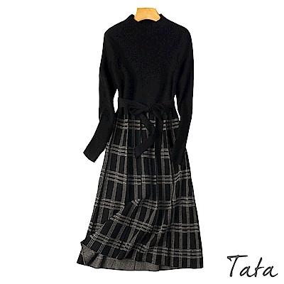 坑條拼接格紋針織洋裝(附腰帶) TATA