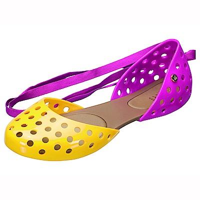 MELISSA 舞動芭蕾雙色綁帶娃娃鞋-黃/粉