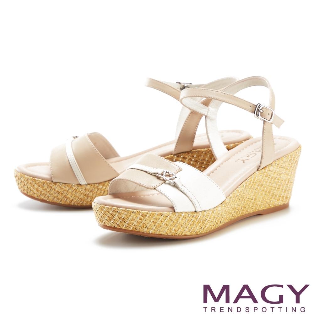 MAGY 愛心鑽飾真皮雙色楔型高跟 女 涼鞋 裸色