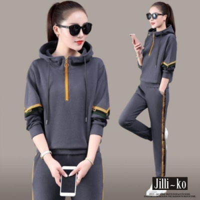 JILLI-KO 兩件套配色飛鼠袖運動套裝- 灰/黑