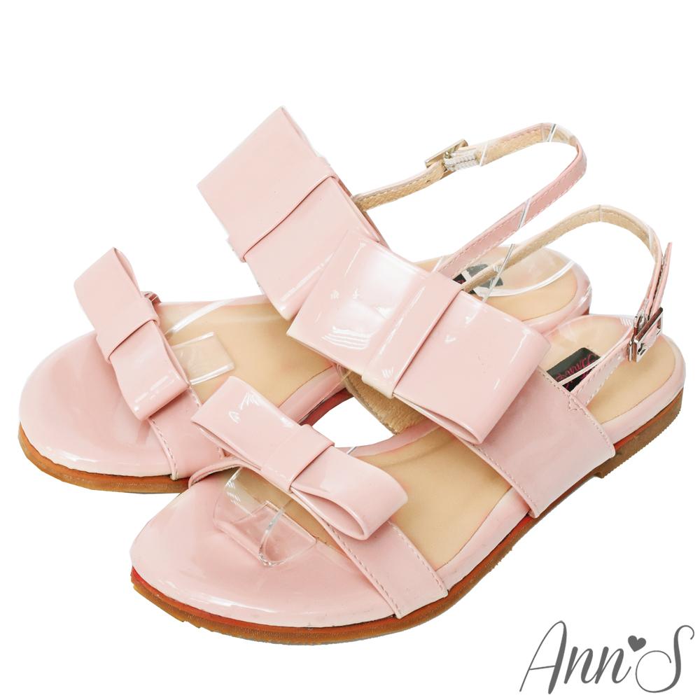 Ann'S甜的氛圍-漆皮大方結平底涼鞋-粉