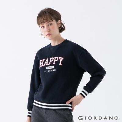 GIORDANO   女裝YOUTH大學T恤 - 41 標誌藍