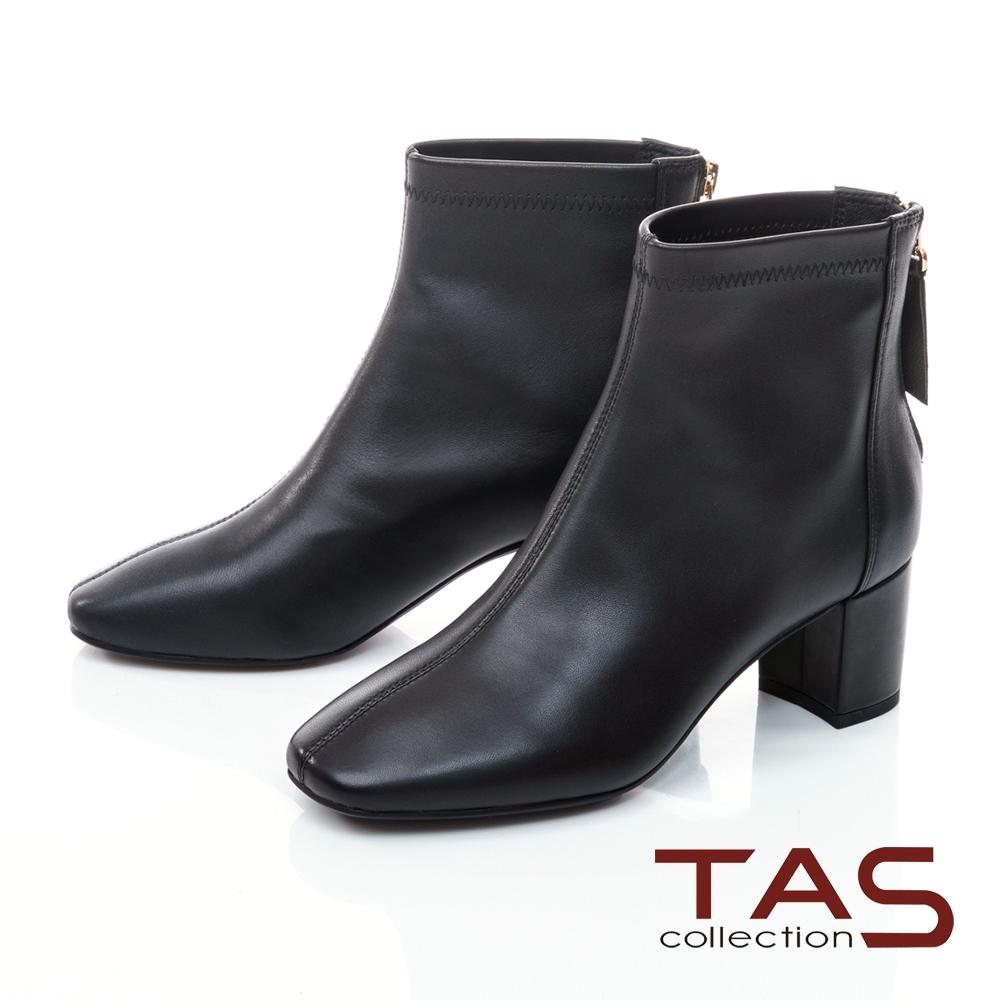 TAS素面羊皮後拉鍊方頭短靴-女神黑