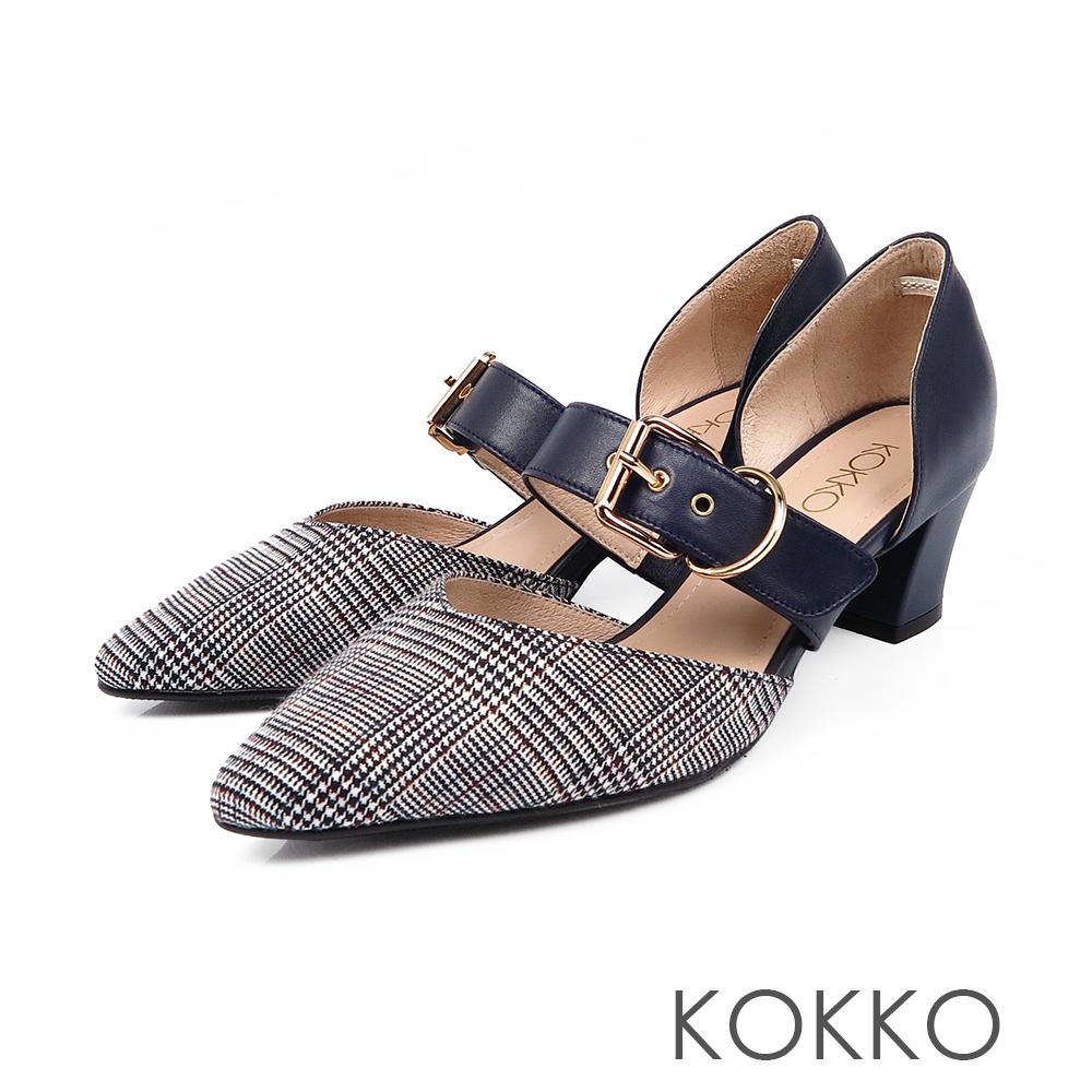 KOKKO艾菲爾鐵塔手工飾帶撞色粗跟鞋格紋藍