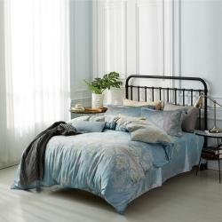夢工場柔情餘韻40支紗萊賽爾天絲四件式鋪錦床罩組-雙人