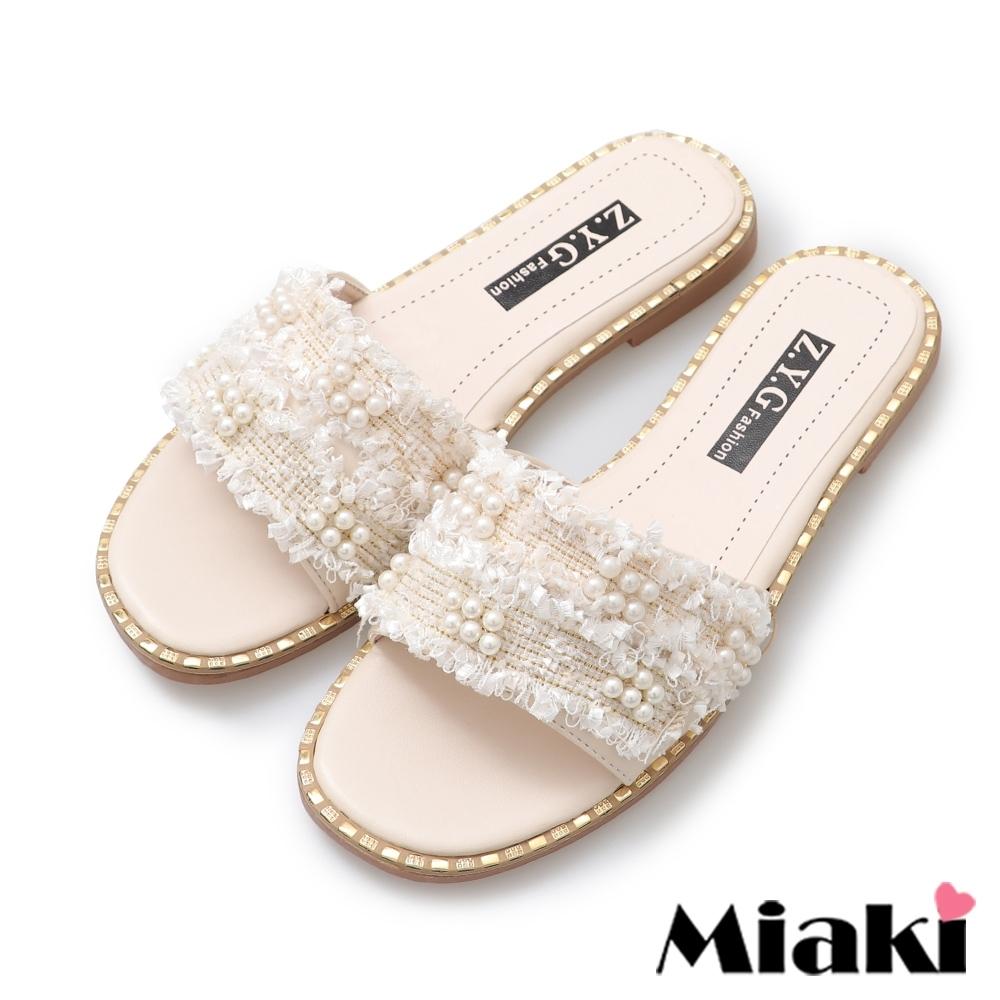 Miaki-拖鞋韓系金屬珍珠涼拖-米