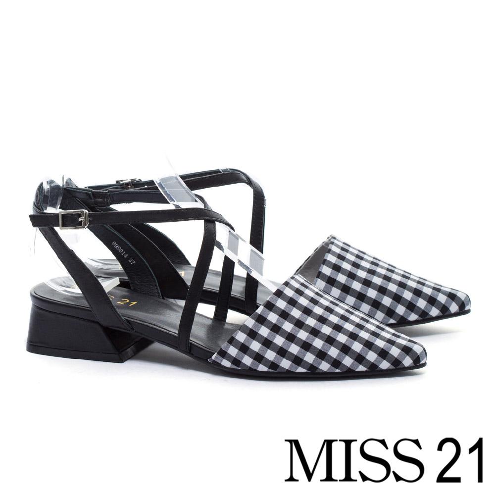 低跟鞋 MISS 21 優雅小清新尖頭交叉帶設計低跟鞋-格紋