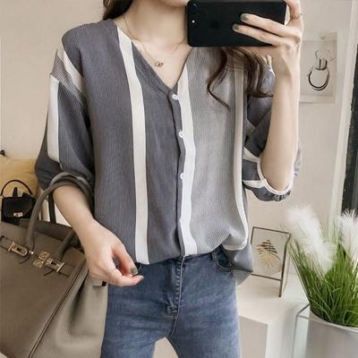【KISSDIAMOND】時尚輕熟女拚色條紋顯瘦遮臂襯衫(輕熟女/簡約風/KDT-7341)