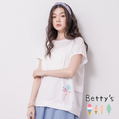 betty's貝蒂思 前印透明花瓶後刺繡T-shirt(白色)