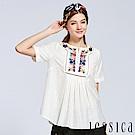 JESSICA - 前褶刺繡簍空上衣(白)