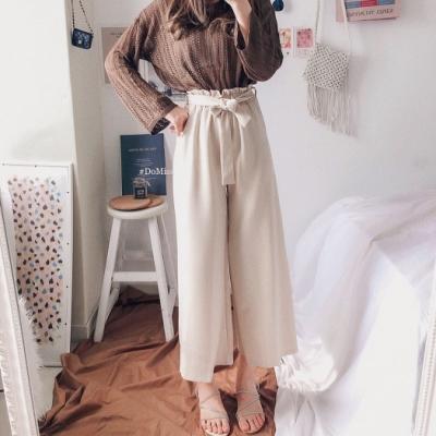 DoMiss顯瘦蝴蝶結繫帶寬褲(3色)