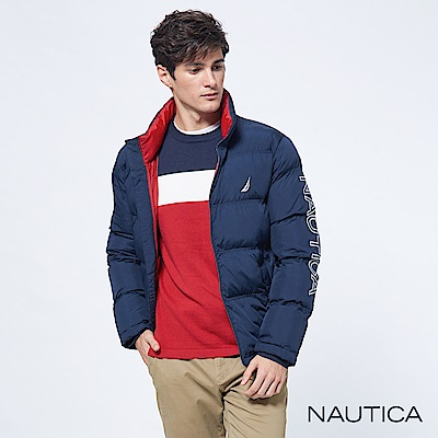 Nautica恆溫保暖科技羽絨立領外套-深藍