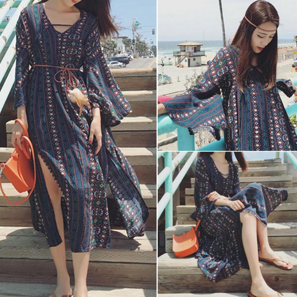 La Belleza渡假風側開叉民族風印花喇叭袖羽毛綁繩波西米亞洋裝
