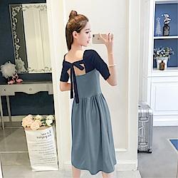 DABI 韓國風優雅chic初戀少女心機露背時尚短袖洋裝