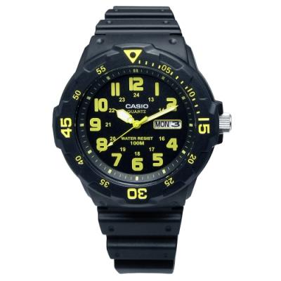 CASIO 卡西歐防水橡膠錶-黑黃色 MRW-200H-9B 42mm