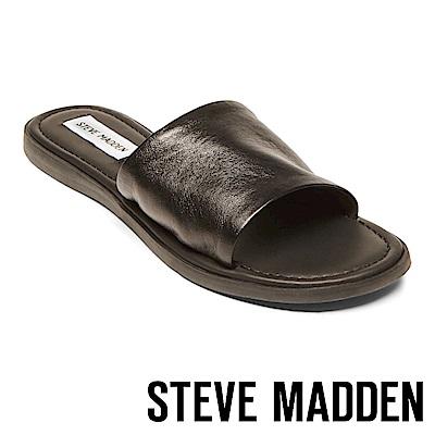 STEVE MADDEN-CAMILLA 真皮皮革一字拖鞋-黑色