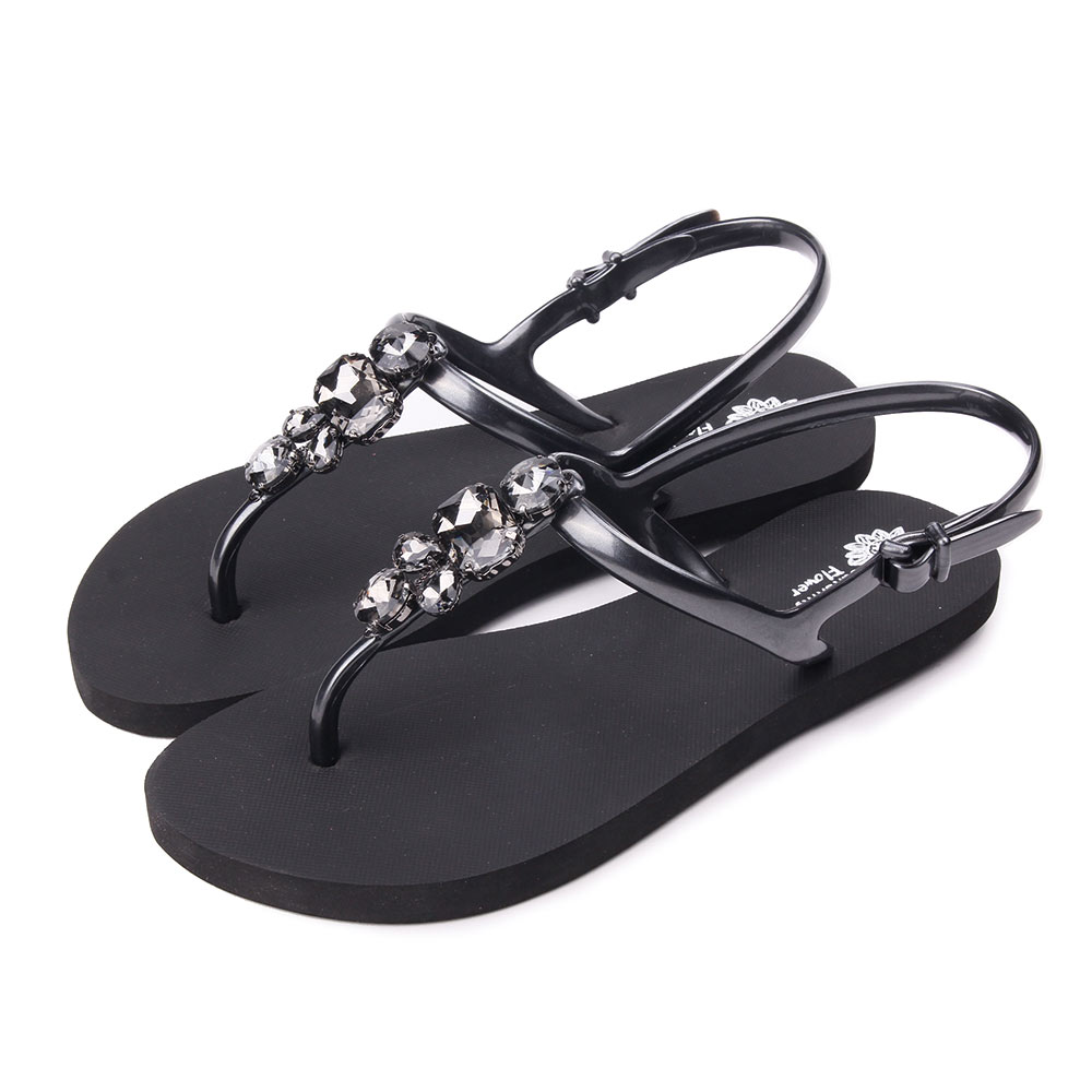TTSNAP涼鞋-經典水鑽夾腳防水鞋 黑