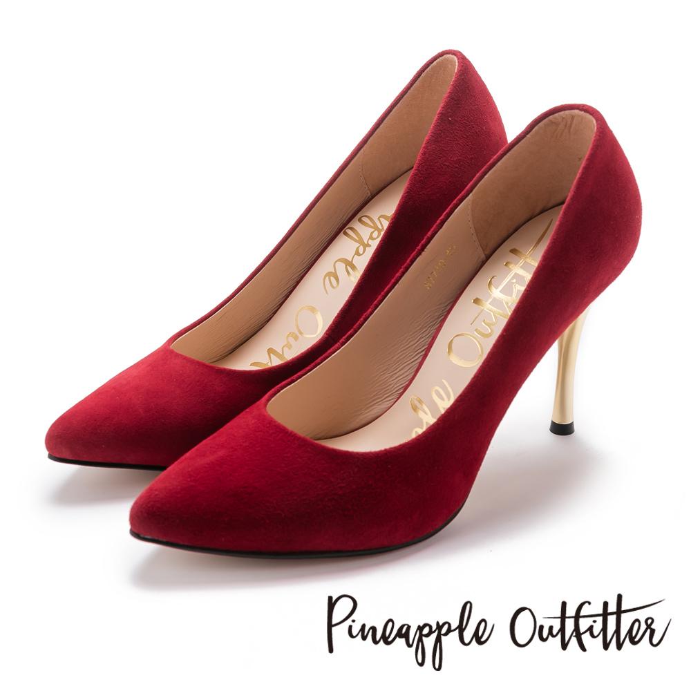 Pineapple Outfitter 性感名媛 真皮素面尖頭金屬高跟鞋-紅色