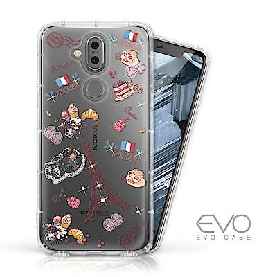EVO CASE Nokia 8.<b>1</b> 奧地利水鑽彩繪防摔殼-甜點巴黎