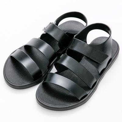 River&Moon防水鞋-寬版雙線條魔鬼氈厚底羅馬涼鞋-黑