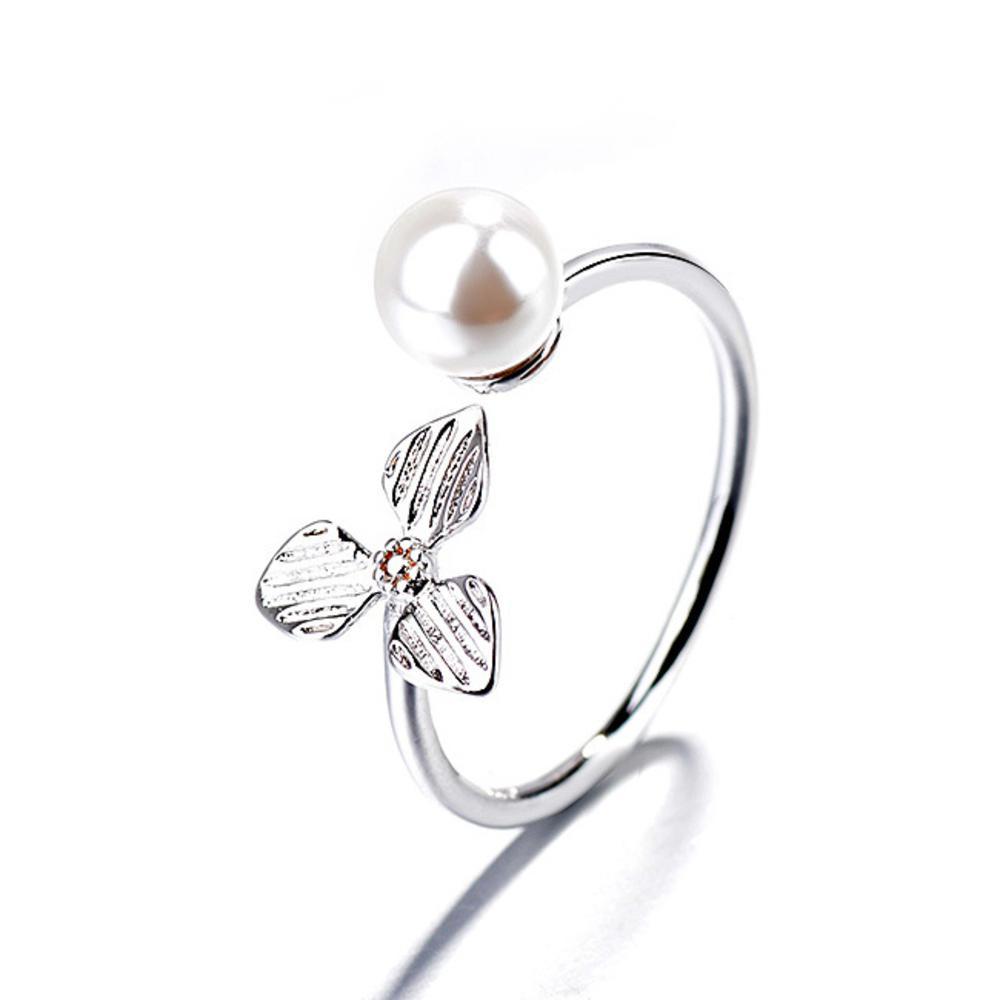 iSFairytale伊飾童話 三色堇珍珠 亮麗白銀銅電鍍開口戒指 @ Y!購物