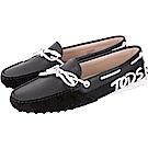 TOD'S Gommino 字母麂皮拼接休閒豆豆鞋(女鞋/黑色)
