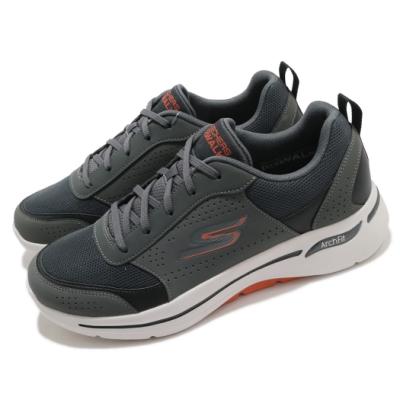 Skechers 休閒鞋 Go Walk Arch Fit 男鞋 避震 緩衝 支撐 穩定 郊遊 踏青 健走 灰 橘 216122CCOR