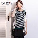 betty's貝蒂思 學院風條紋拼接襯衫(深綠)