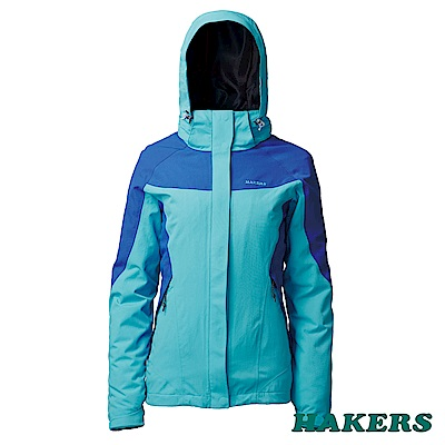 【HAKERS 哈克士】女 三合一防水外套-水藍/寶藍