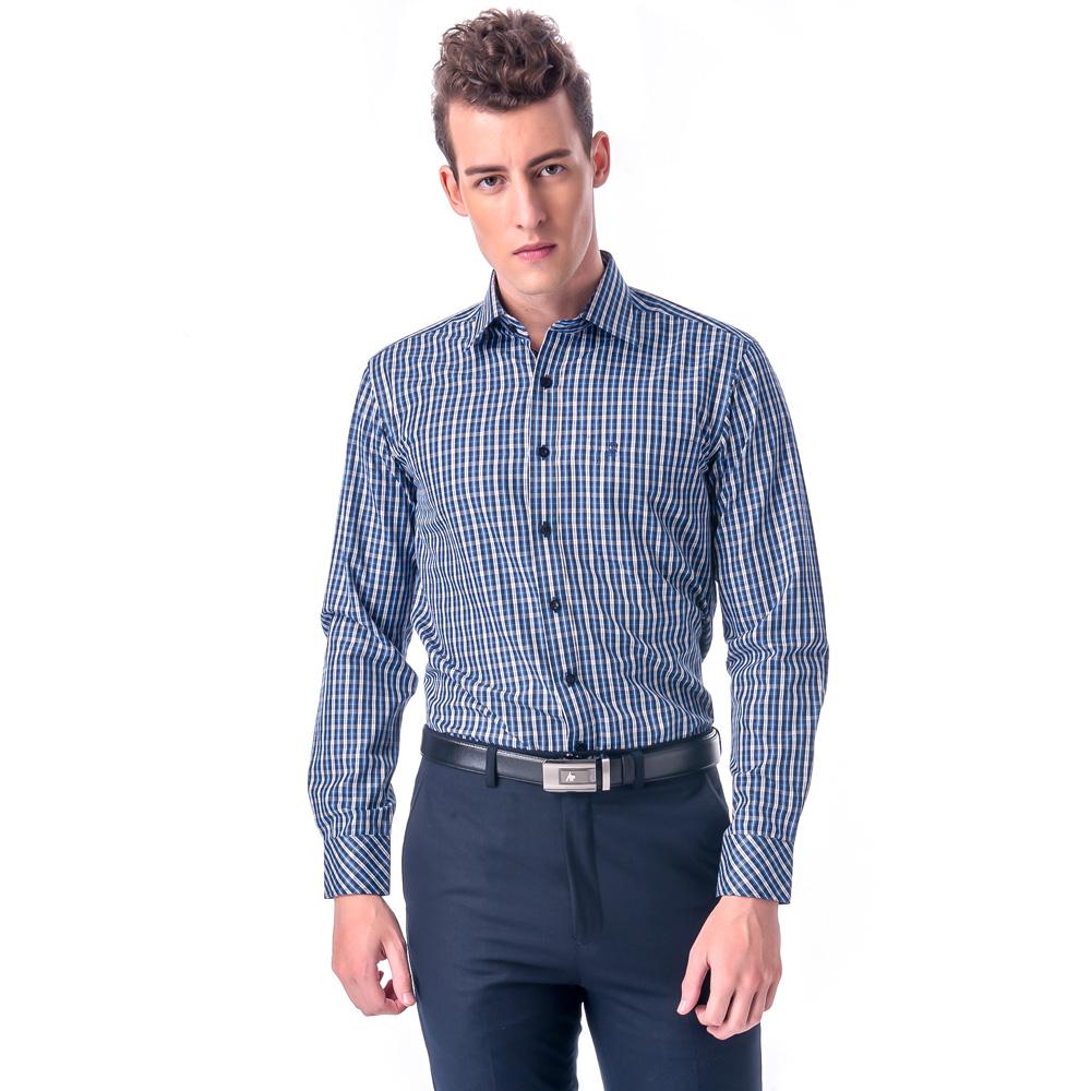 金‧安德森 藍黃格紋窄版長袖襯衫